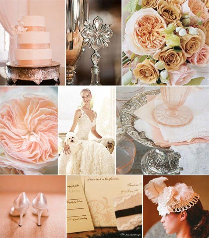 Peach Cream Blush and Champagne Wedding Moodboard #wedding #weddingcolours