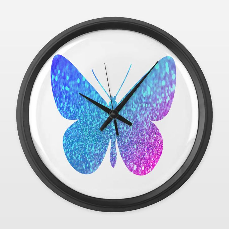Shop for unique nursery art like the blue glitter butterfly Wall Clock by haroulita on BoomBoomPrints today!  Customize colors, style and design to make the artwork in your baby's room their own!