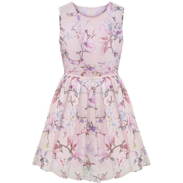 LUCLUC Pink Floral Print Sleeveless Skater Dress (124.055 COP) ❤ liked on Polyvore featuring dresses, lucluc, vestidos, flower print dress, floral sleeveless dress, floral pattern dress, pink floral dress and game day dresses