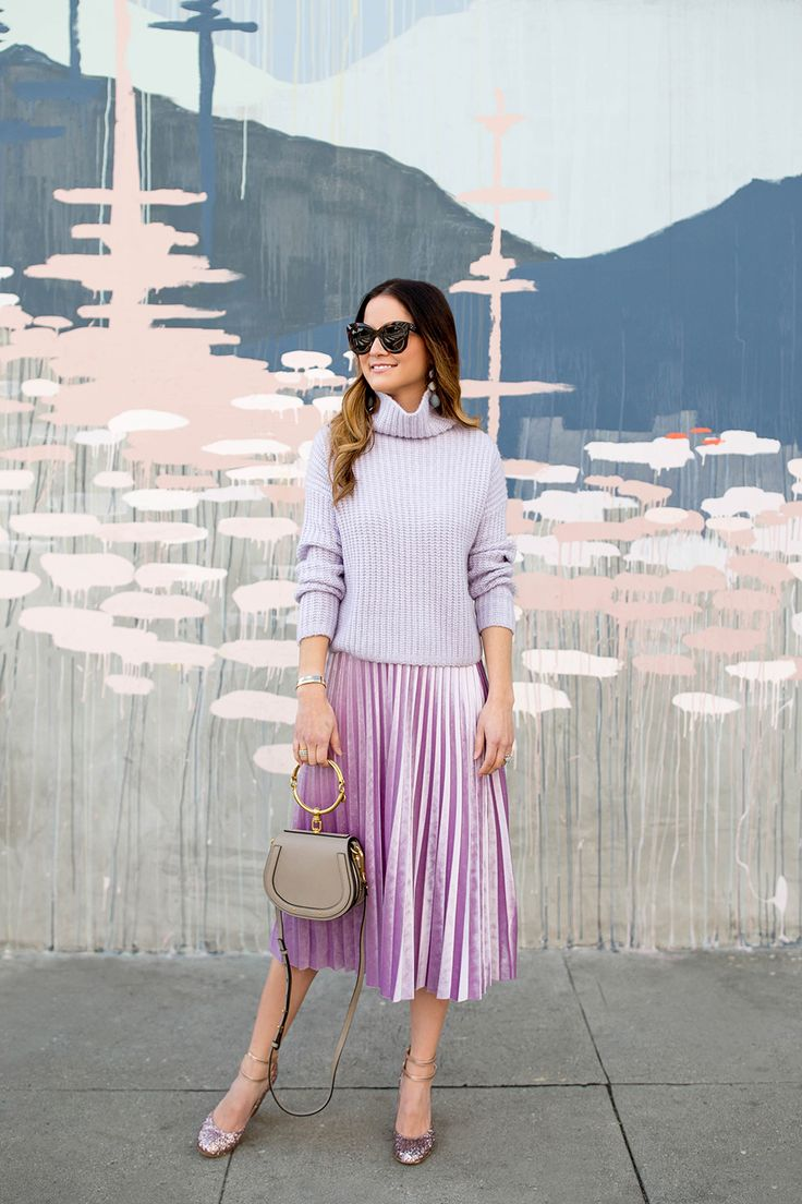 Turtleneck Sweater + Pleated Midi Skirt