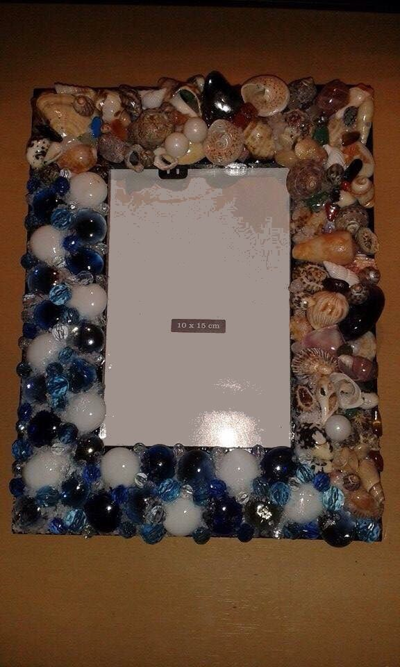 Seaside inspired photo frame with glass pebbles, shells, semi precious stones, beads and rock salt