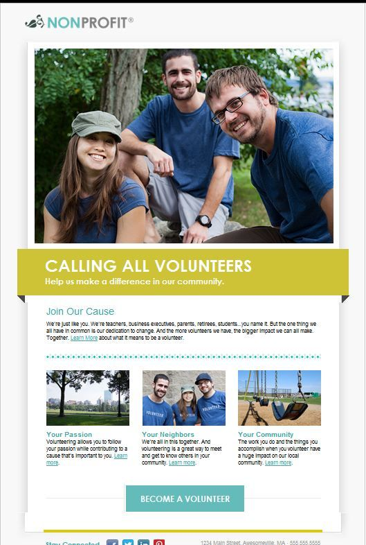 104 best email templates from constant contact images on pinterest recruit more helping hands with our new nonprofit volunteer template pronofoot35fo Images