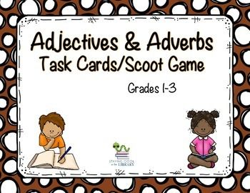 FREE!  Gr. 1-3 Set of 36 task cards to review adjectives and adverbs with your students. Each card has a word on it and students need to identify if the word is an adjective or adverb.