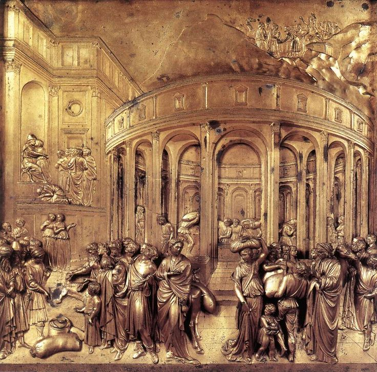 Lorenzo Ghiberti - Discovery of the Golden Cup, 1425-52, gilded bronze, Baptistry, Florence.