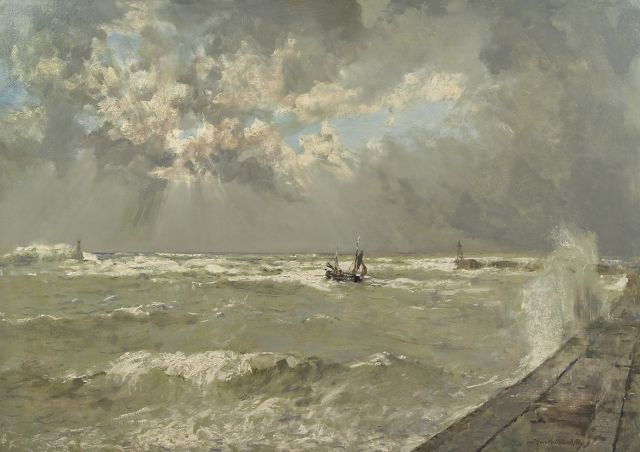 Mastenbroek J.H. van | A lugger in choppy waters, Scheveningen harbour, oil on canvas 70.3 x 100.1 cm., signed l.r. and dated 1936