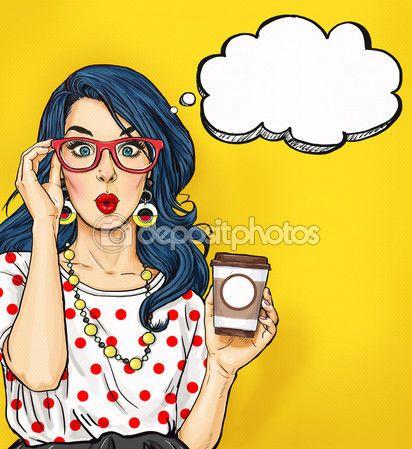 Fille de Pop Art avec une tasse de café dans des verres avec bulle de pensée. Invitation fête. Carte d'anniversaire. Hollywood, star de cinéma. Femme de bande dessinée. Sexy girl. Étonné, wow, mignon, lèvres, hippie, visage, merveille, tentation