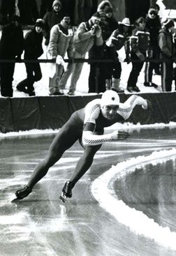 Gaétan Boucher, gold medals in both men's 1000m and 1500m speed skating, and bronze medal in men's 500m, at the 1984 Winter Olympics in Sarajevo, Yugoslavia
