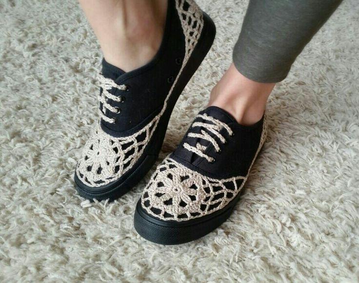 Diy crochet lace sneakers:)