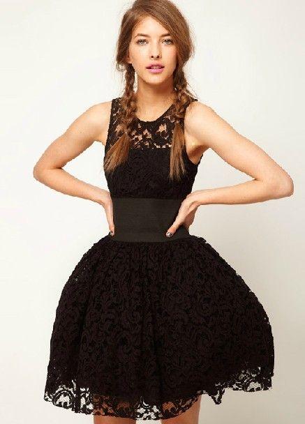 black lace flare dress <3