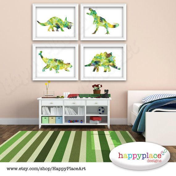 Dinosaur Set In Green Blue And Brown Watercolor Texture Suit Boy S Dinosaur Bedroom Decor