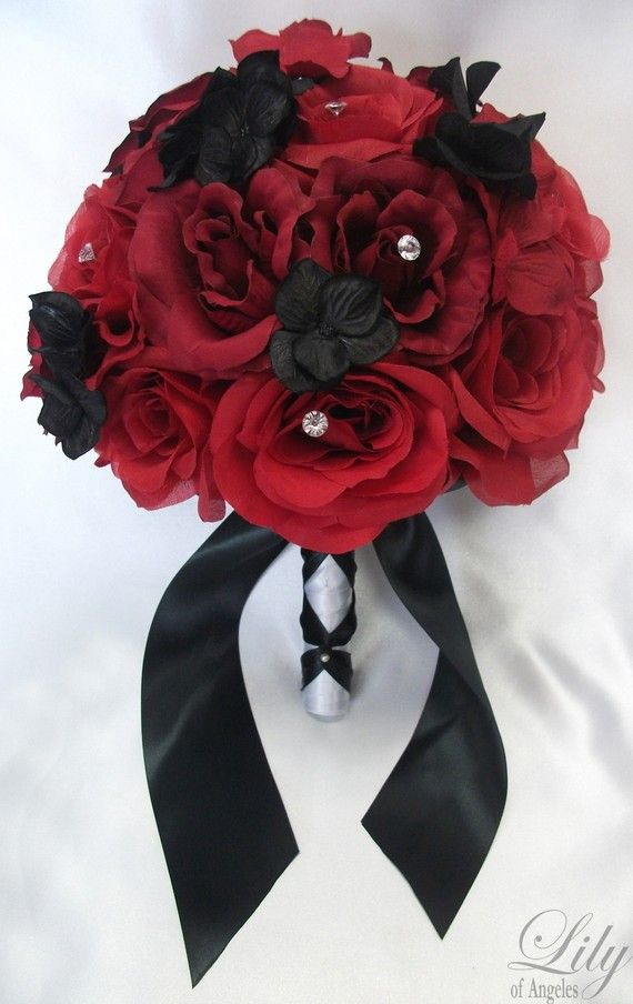 """17 Pieces Package Silk Flower Wedding Decoration Bridal Bouquet RED BLACK """"Lily Of Angeles"""" on Etsy, $199.99"""