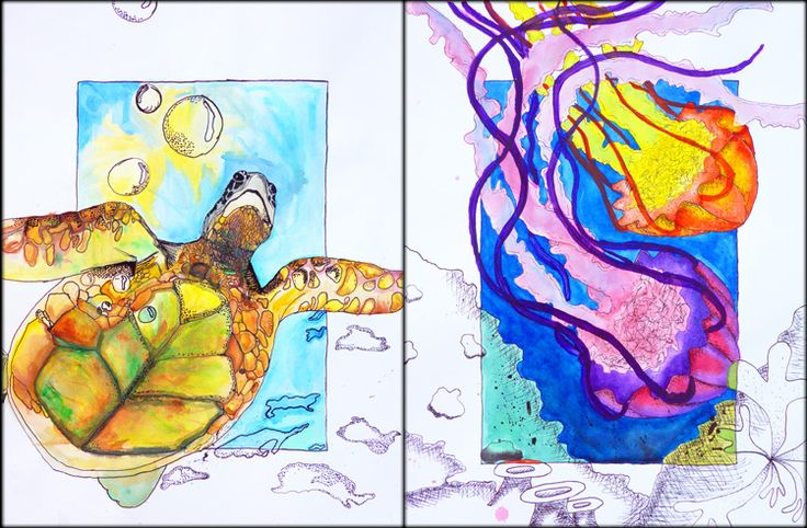 Imani Belt, Anna-Malia Santos Water-color water life inspired illustrations! with assessment rubric!