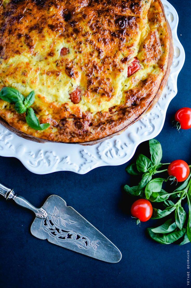 Clafoutis aux tomates cerises, scamorza et thym