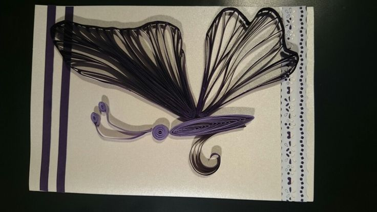Quilling butterfly made with comb and pins