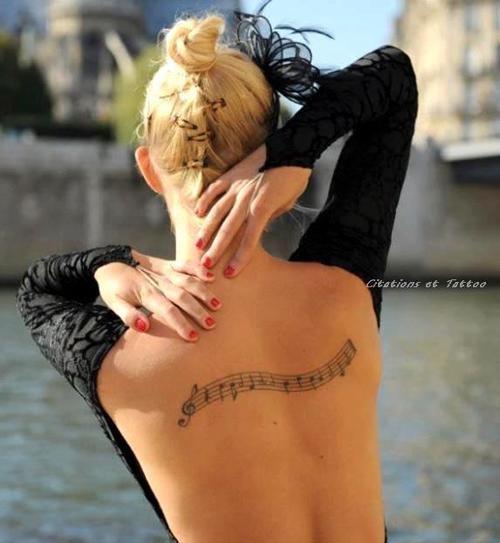 Back Music Staff Tattoo
