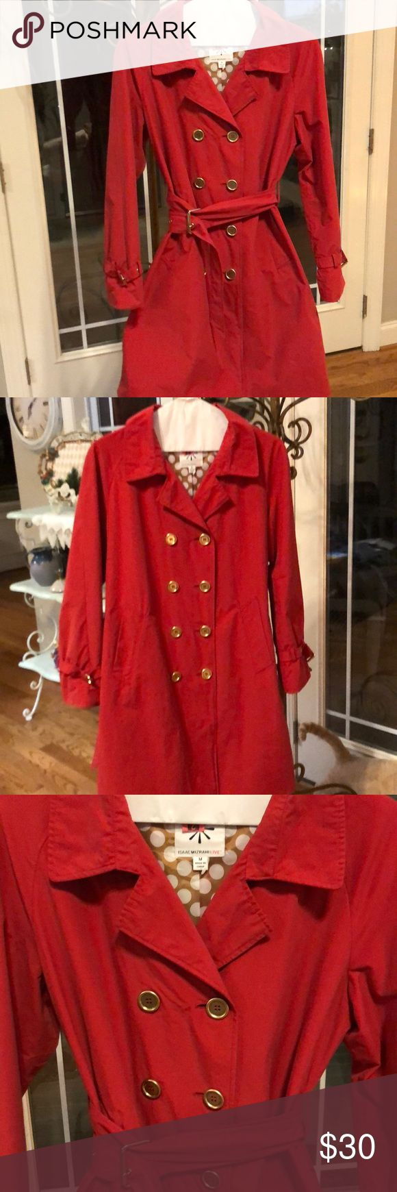 """Issac Mizrahi Live Rain Coat Lined Very Good Condition, No Stains, maybe wore 4 times.  Tomato Red (not a bright red) fully lined( last picture) rain wear.  Just picked up from the cleaners, ready for you  to wear.  I'm 5'6"""" and it hits right below my knee.  Wear with belt, or without belt.  8 buttons, 2 pockets, Split in back, flap in back, buckle around sleeves to match belt buckle. Isaac Mizrahi Jackets & Coats"""