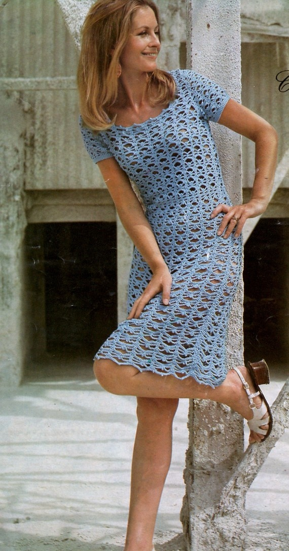 Vintage 1960's Crochet Ladies Dress Pattern by VintagePatternsUK, £1.95