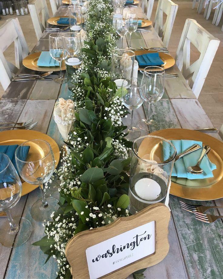 CBC431 wedding Riviera Maya garland of greenery and baby breath centerpieces: centro mesa de Camino follaje y nube