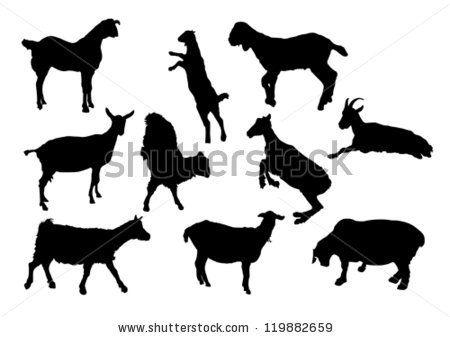 ten goat silhouettes