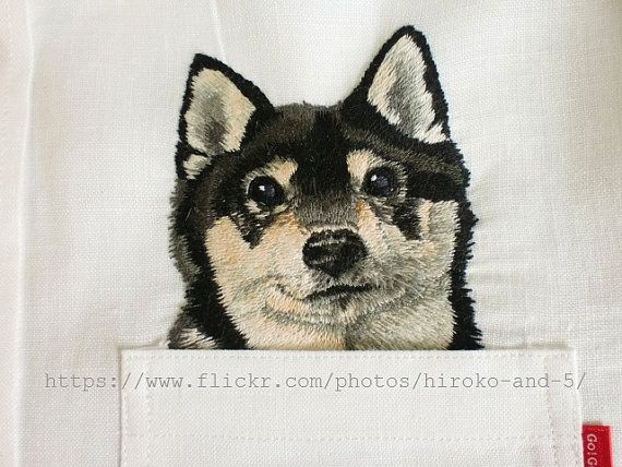 hand embroidered Shiba dog in the pocket on the linen shirt for women