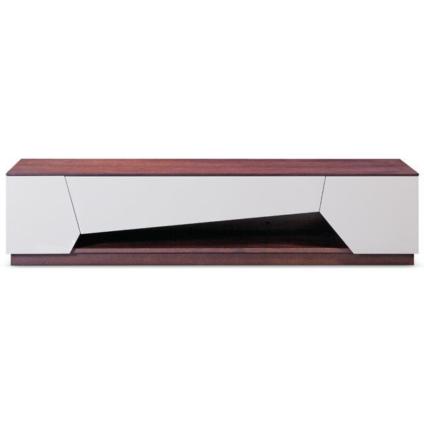 This contemporary TV stand has a brown oak body finish and gray gloss doors and drawers, brown oak interiors.