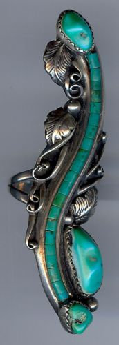 UNIQUE-LONG-VINTAGE-SIGNED-NAVAJO-INDIAN-SILVER-MULTI-TURQUOISE-RING-SIZE-9