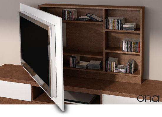 Paneles de para TV television  Soluciones para pantallas planas de gran formato, con paneles giratorios, que resolverá el problema de aquellas viviendas donde la mesa de comedor y el sofá no estén en el mismo ángulo de visión que la pantalla.