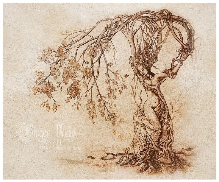 Hedgewitch, Dryad Tree Woman Nature Goddess Art Print 11 X 14 inch by GingerKellyStudio on Etsy https://www.etsy.com/listing/118670611/hedgewitch-dryad-tree-woman-nature