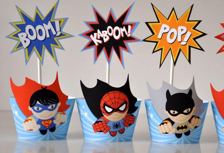 Superhero-Avengers-Capcake-acolchados-envoltorios-superhéroe-decoraciones-de-fiesta-de-cumpleaños-fiesta-de-cumpleaños-decoraciones-del.jpg (1000×682)