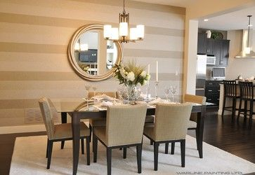 Perfectly painted showhomes  dining room. Awesome. Paint horizontal with round mirror!