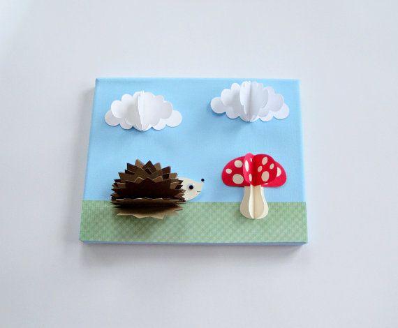 Original Hedgehog and mushroom 3D Paper Wall Art par goshandgolly