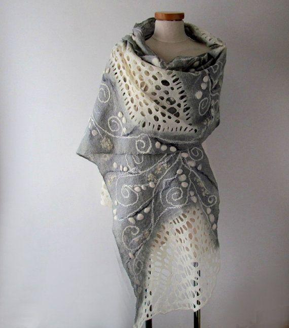 Felted scarf White grey felt scarf White grey shawl by galafilc