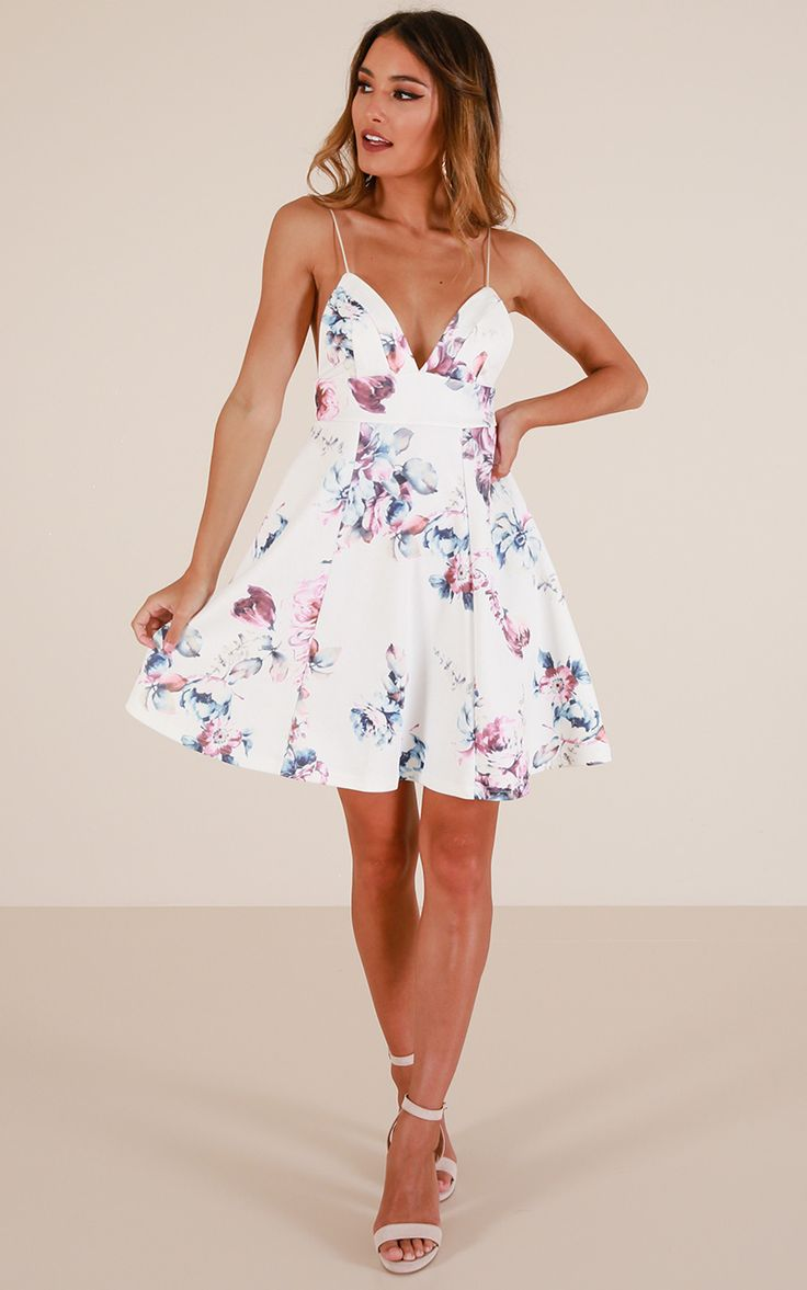 Poison Heart Dress in white floral Produced By SHOWPO