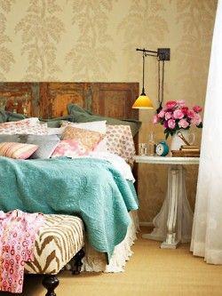tropical wallpaper.. shabby chic headboard, and robin egg blue bedding.. wonderful combination
