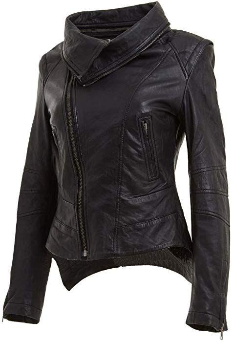 5654605b7561 Leathr Hubb Black Snapdragon Moto Biker Leather Jacket for Women (Large) at Amazon  Women s Coats Shop
