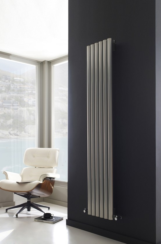 Deep silver slimline radiator, perfect for any bathroom design