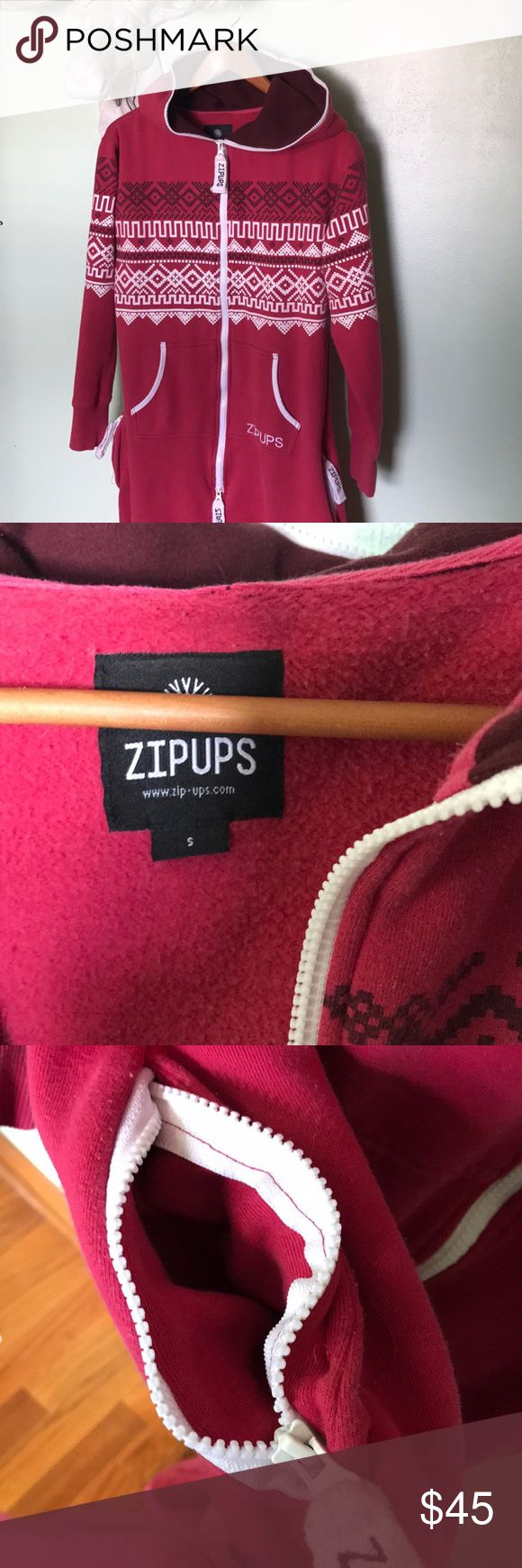 """ZIPUPS adult onesie GUC full hood pockets ski The ultimate in weekend lounge wear!!! This adult onesie by ZIPUPS is like a thick sweatshirt for your whole body. You can even zip your head fully in. Zipper pockets at hip. Size is unisex small, so like a women's medium. Length from shoulder to hem is just about 60"""" but slouchy legs are the look. I'm 5'6"""" and this fit me well. Pit to pit is 20"""". Hips are 25"""" measured flat. GUC. Some minor pilling and wash wear. zipups Intimates & Sleepwear…"""