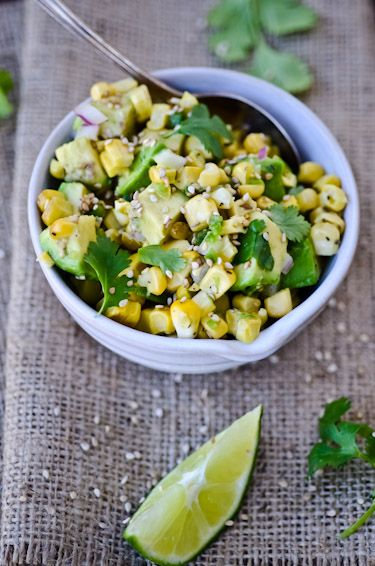 corn and avocado salad.: Avocado Salsa, Asian Style, Lime Juice, Corn Avocado Salad, Food, Seeds Salt, Asian Corn, Favorite Recipes, Rice Vinegar