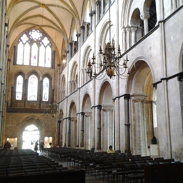 Norman Arcades In The Nave Of Chichester Cathedral Sussex Demonstrate Solidity We Associate With Romanesque But A Glimpse Ribbed