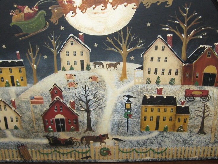 Christmas Eve In New England Original Folk Art By Raney