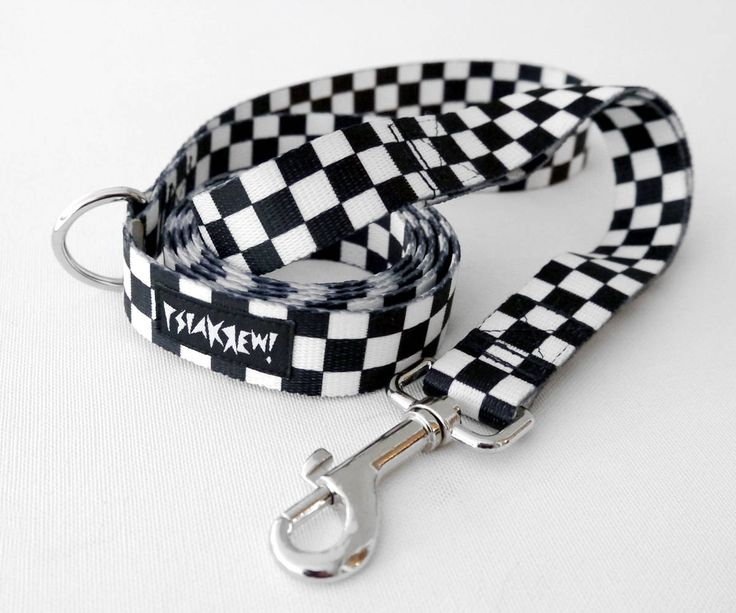 "Dog Leash Checker width 2 cm, 0.78 "", black&white designed pet leashes Psiakrew by PSIAKREW on Etsy"