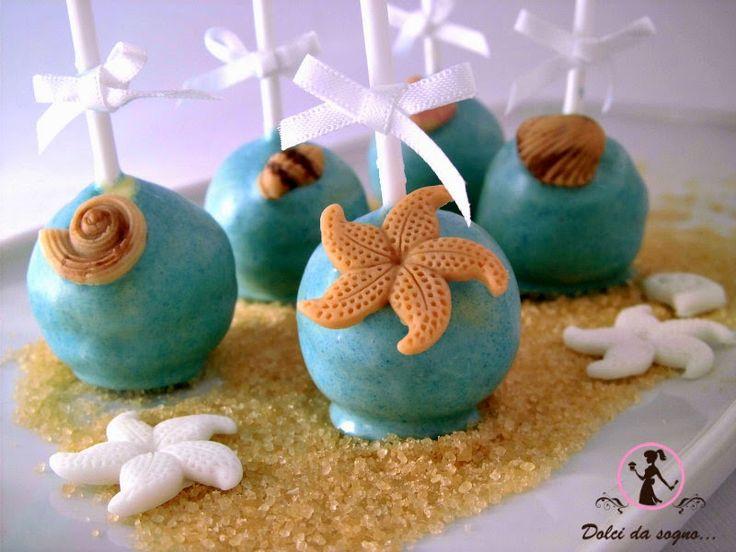 """Dolci da sogno...Vista la stagione estiva, ho creato questi cake pops con tema mare e per decorarli velocemente ho utilizzato lo stampo molding in silicone """"Conchiglie e Stelle Marine"""""""