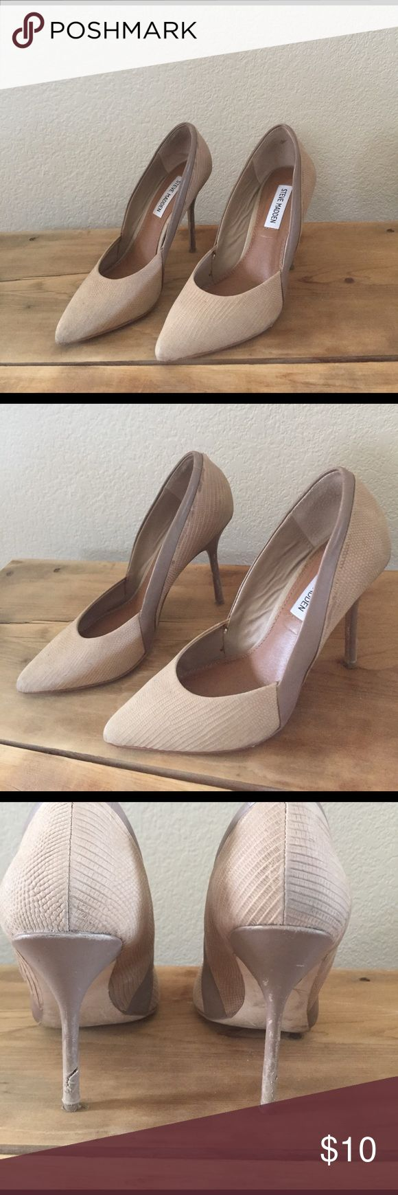 Steve Madden Pump Steve Madden pumps in nude. Pumps have been worn quite a bit and do have damage priced according please see pictures. Steve Madden Shoes Heels