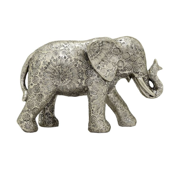 Three Hands Elephant Table Top Decor Silver Resin