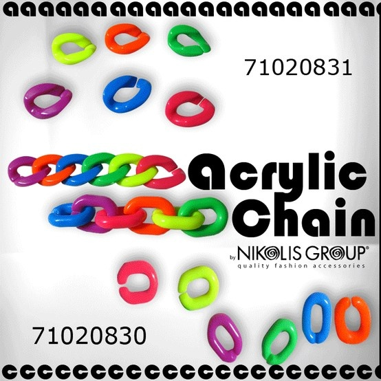 acrylic chains in vivid and neon colors (Code No 7102831, 71020830)