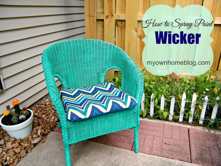Spray Painted Wicker Chair at myownhomeblog.com
