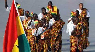 Tenues Traditionnelles portés par des Athlètes Ghanéens lors des Jeux Olympique représentant le Ghana situé en Afrique de L'Ouest