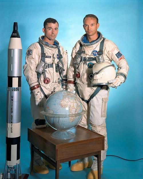 John Young and Michael Collins - Gemini 10 - endearingly awkward studio portrait
