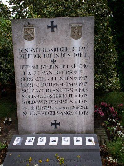 Oorlogsmonument Zuid-Willemsvaart - Veghel - TracesOfWar.com // Dit monument herdenkt zeven op deze locatie gesneuvelde Nederlandse militairen. Bij de verdediging van de Sluisbrug in Veghel aan de zuidkant van de Zuid-Willemsvaart zijn een aantal Nederlandse militairen na hevige en een standvaste verdediging gesneuveld op 11 mei 1940. Een aantal van hen zijn begraven zijn op het kerkhof van de parochie in Zijtaart.