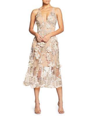 Audrey Lace Midi A Line Dress Dress The Population Fit